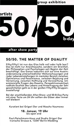 Fifty/fifty. The Matter Of Duality. The Group Show 2020